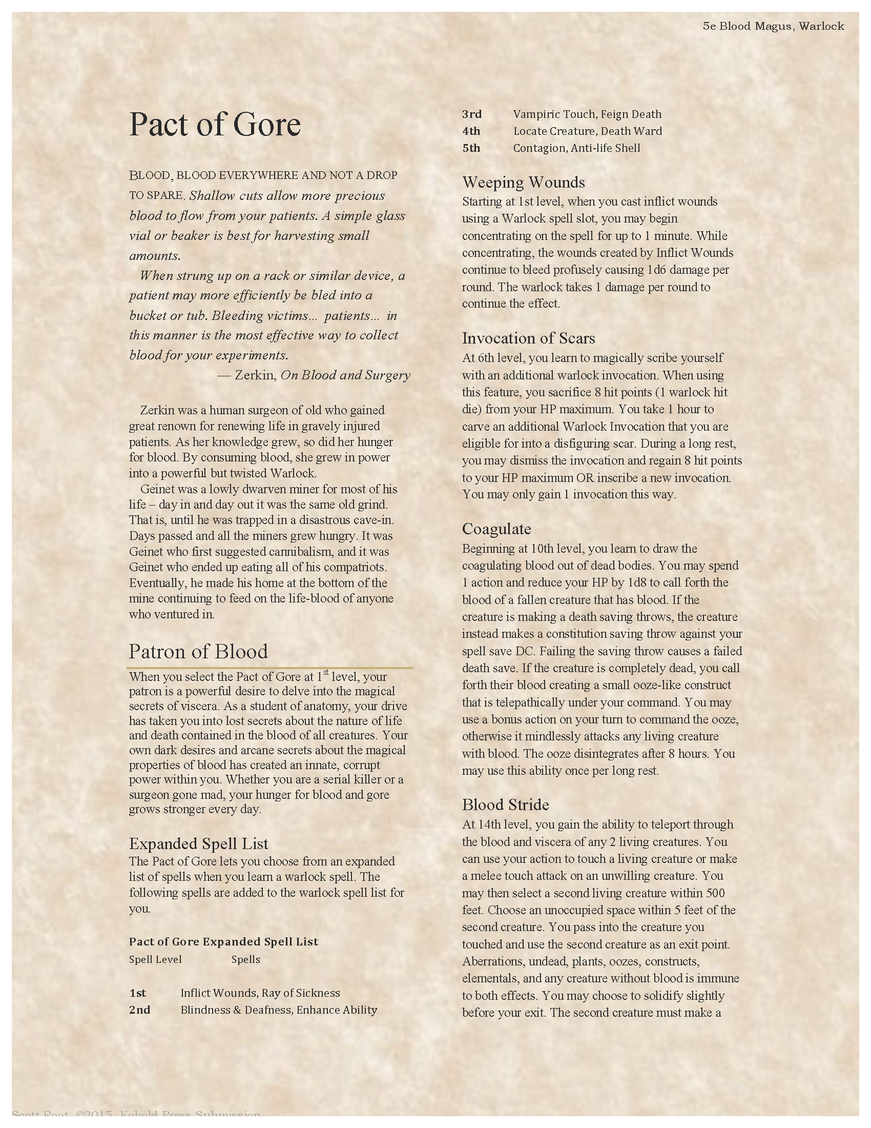 - D&D Homebrew 5e, Pact Of Gore Warlock In 2019