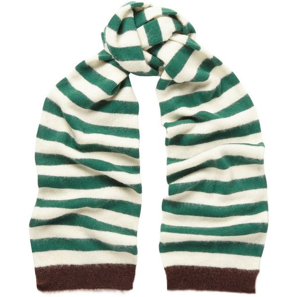 Marni Striped alpaca-blend scarf ($240) ❤ liked on Polyvore featuring accessories, scarves, forest green, green scarves, striped scarves, marni and green shawl