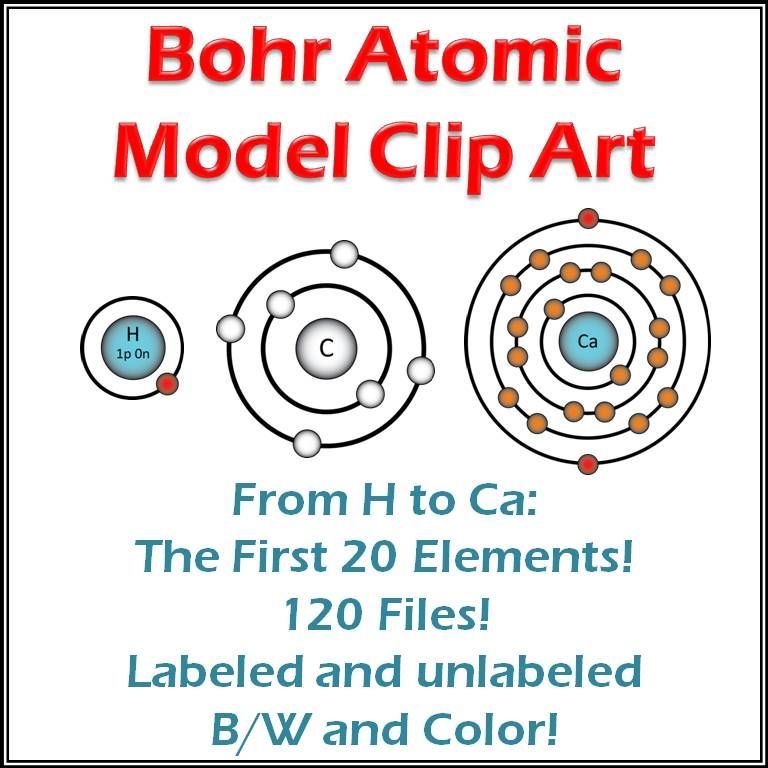 Bohr Atomic Clip Art: 20 Elements in 3 Formats | Models, The o ...