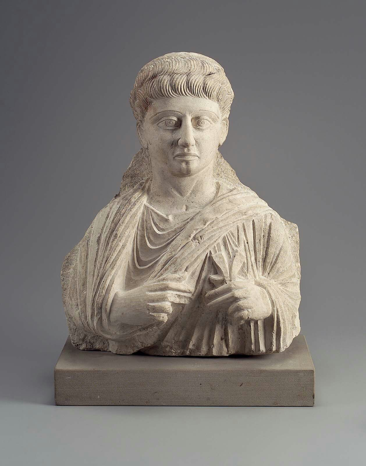 Limestone bust of a man. Roman Provincial. Imperial Period, Palmyrene Group I, c. A.D. 100–150 | The Museum of Fine Arts Boston