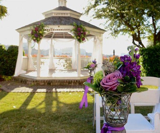 Purple Floral Ceremony Decor at the Westin Savannah Harbor