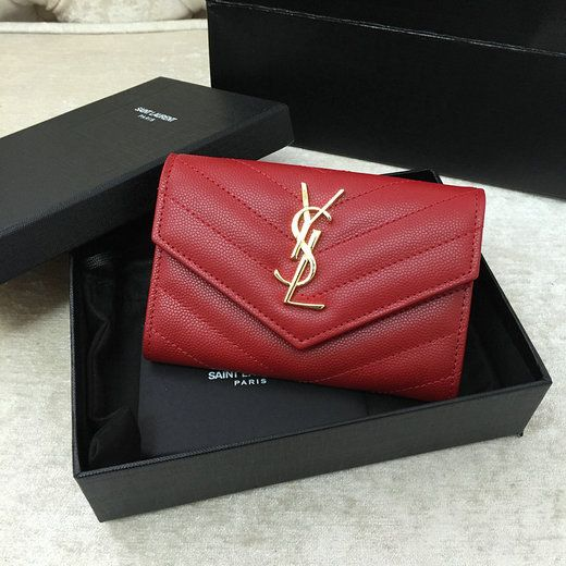 cf0853ab222 2016 S/S YSL Small Monogram Envelope Wallet in Red Grain De Poudre Textured  Matelasse Leather