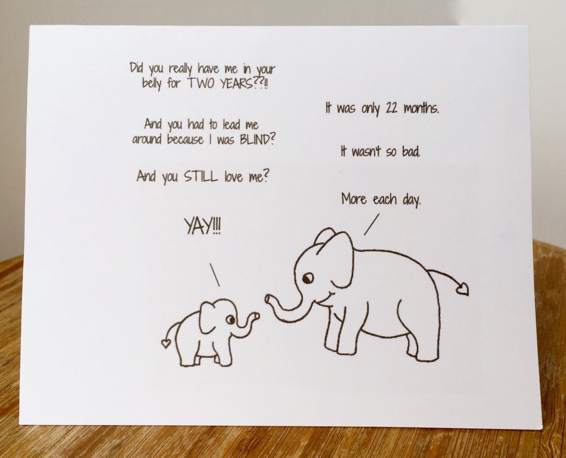 Mothers Day Card Elephant Card Sweet Mothers Day Card With