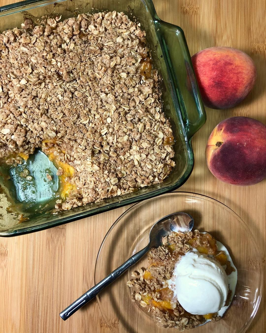 Hoping everyone is having a wonderful Labor Day weekend! Made delicious peach crisp! Pairing with creamy vanilla ice cream makes the perfect end of summer dessert!. . . . #peach #peaches #fruit #peachseason #oat #peachcrisp #fruitdessert #dessert #dessertlover #summerdessert #dessertoftheday #dessertofinstagram #summer #thefeedfeed #thebakefeed #baking #bakefromscratc #labordaydesserts