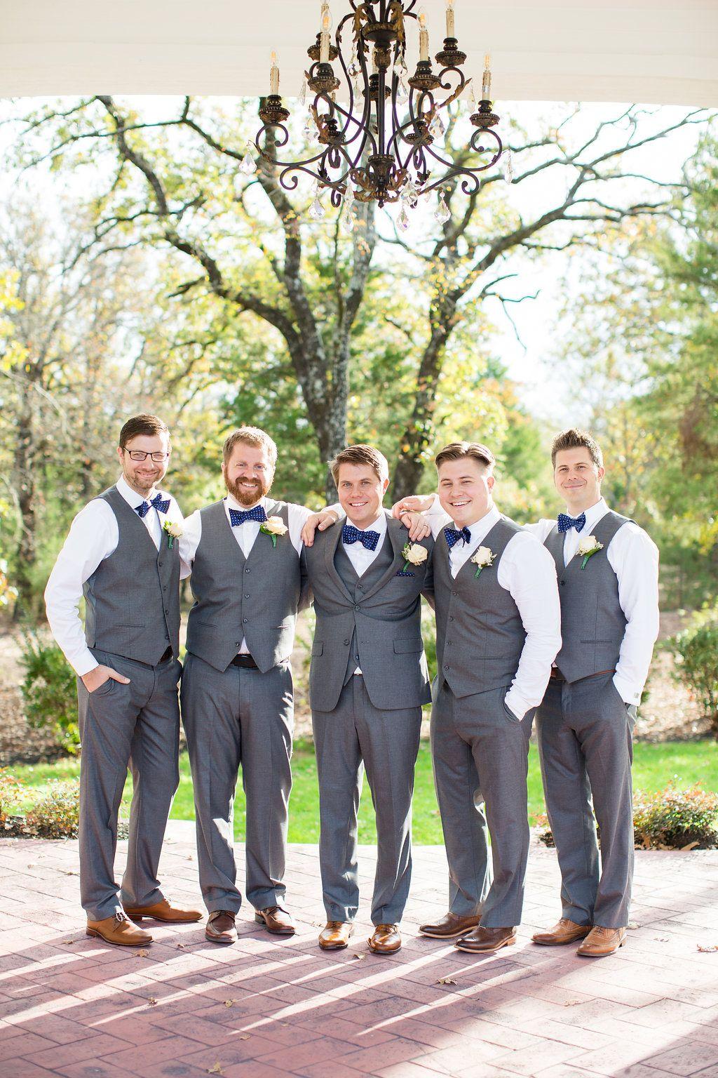 Groomsmen In Gray Vests Navy Blue Bow Ties Spring Wedding Groomsmen Ideas Groom Photography Wedding Groomsmen Wedding Party Groomsmen Wedding Groomsmen