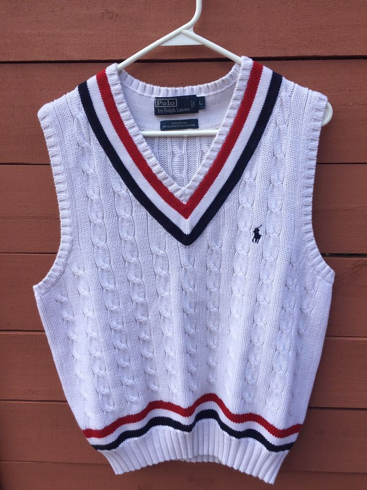 dae442166 Vintage 90s Polo Ralph Lauren High Fashion Cable Knit Sweater Vest Size L