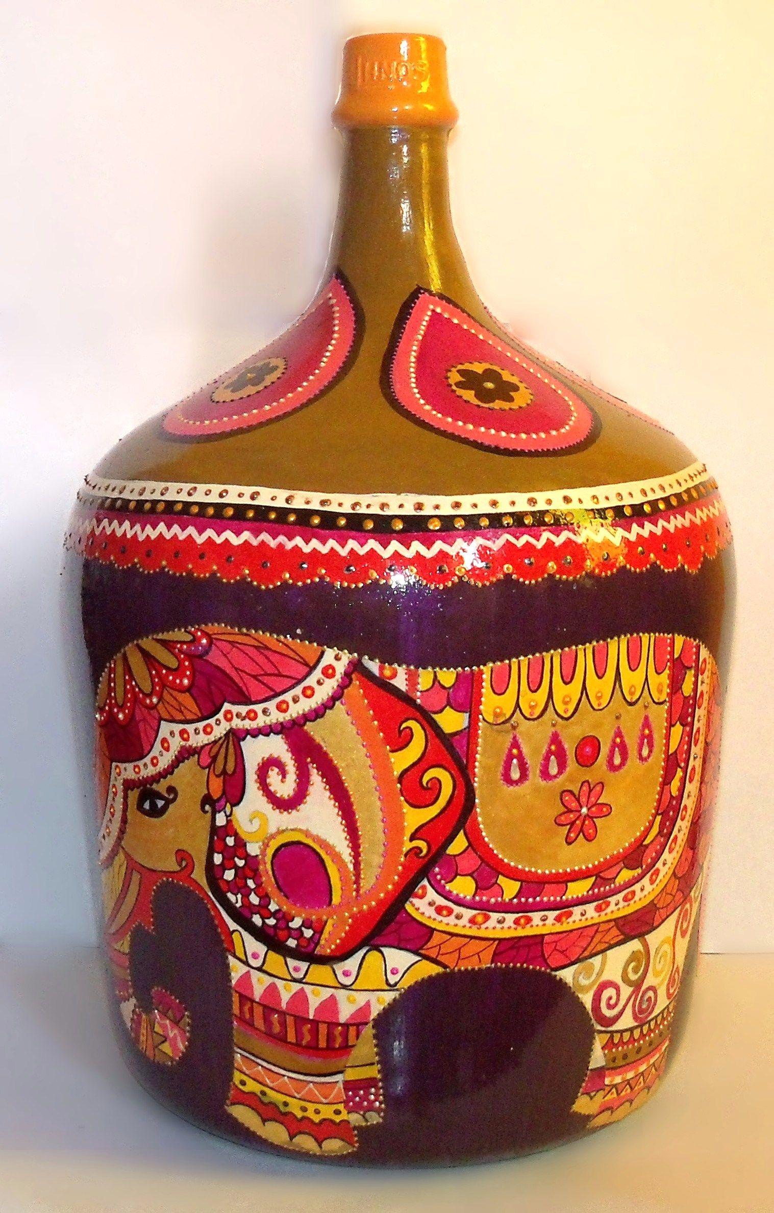 Pin de aly cebrian en damajuanas bottle painting wine - Manualidades con botellas de cristal ...
