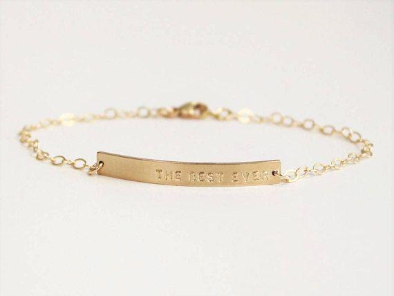Dainty Gold Nameplate Bracelet Bar