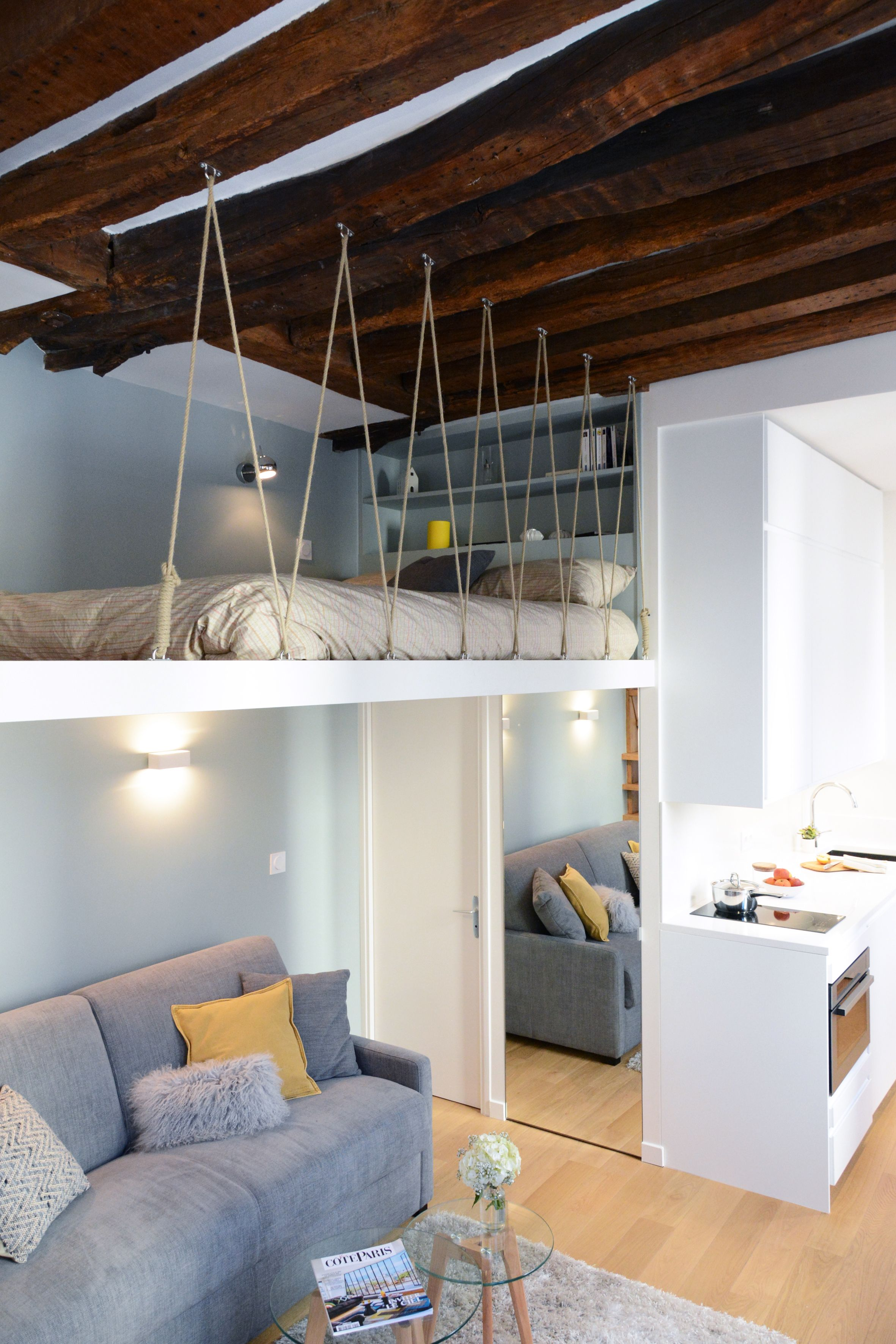 studio avec mezzanine Paris | house en 2019 | Mezzanine bedroom ...
