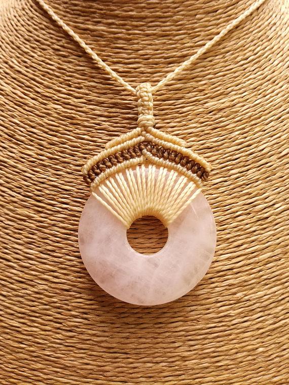 Photo of Rose quartz necklace,Pink stone necklace,Gemstone donut necklace,Macrame stone necklace,Rose quartz pendant necklace,Long Boho necklace