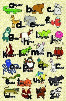 Zoo Animal Phonics Color Poster Zoo Phonics Phonics Phonics Cards