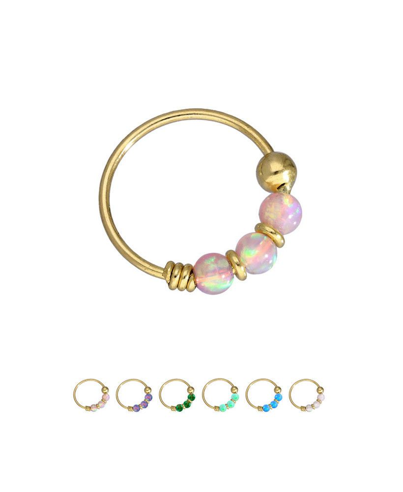 Gold nose piercing  KT Gold Nose Ring Hoop Fixed Faux Opal Beads