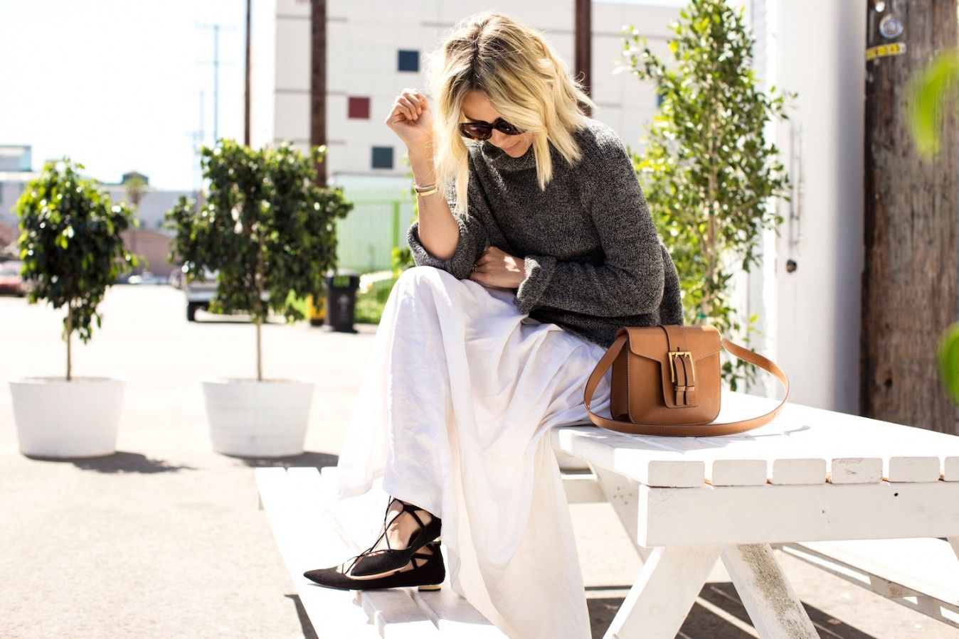 white maxi skirt, grey sweater & black flats.