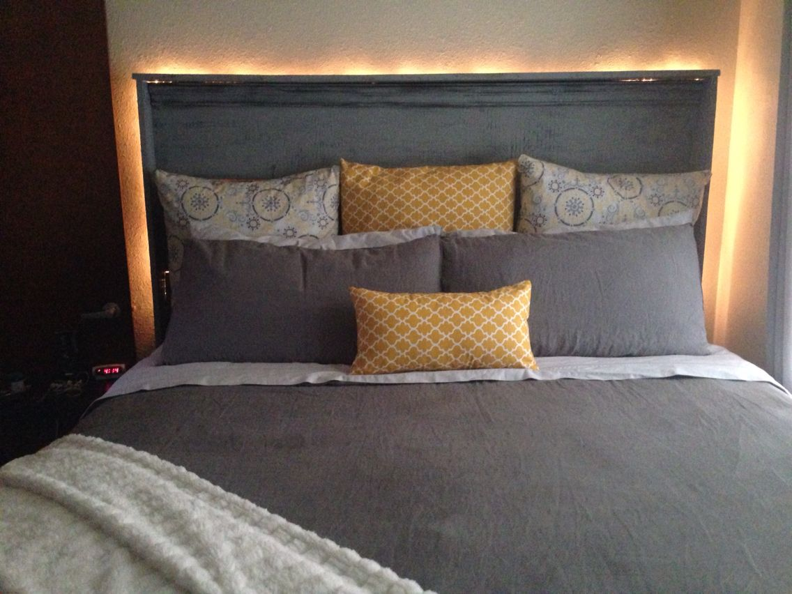 I Hung A Rope Light Behind My Headboard Bed Pillows Home