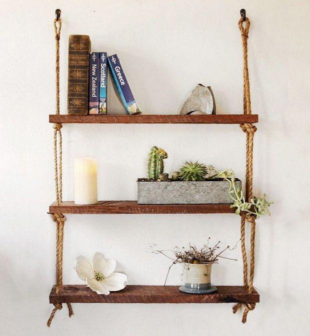 Diy Hanging Rope Shelf Ideas Hanging Rope Shelves Hanging Wood