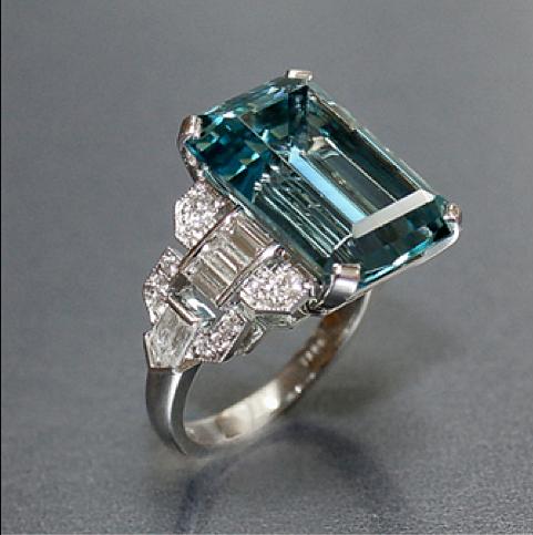 7c03e1208f58d Art Deco Vintage 12.16 carat emerald cut aquamarine ring with ...