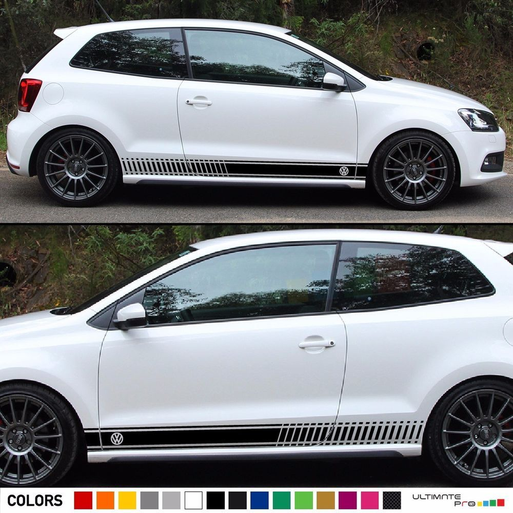 Stickers Decal For Vw Volkswagen Polo Stripe Body Kit Door Handle Guard Sill Gti Ultimateprocy1 Autofolierung [ 1000 x 1000 Pixel ]
