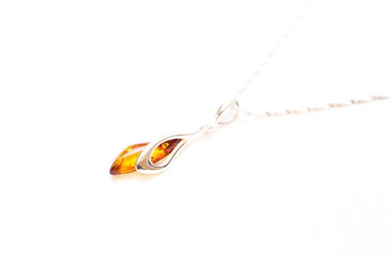 Sterling Silver Oval Pendant Necklace with Genuine Cognac Amber Chain included