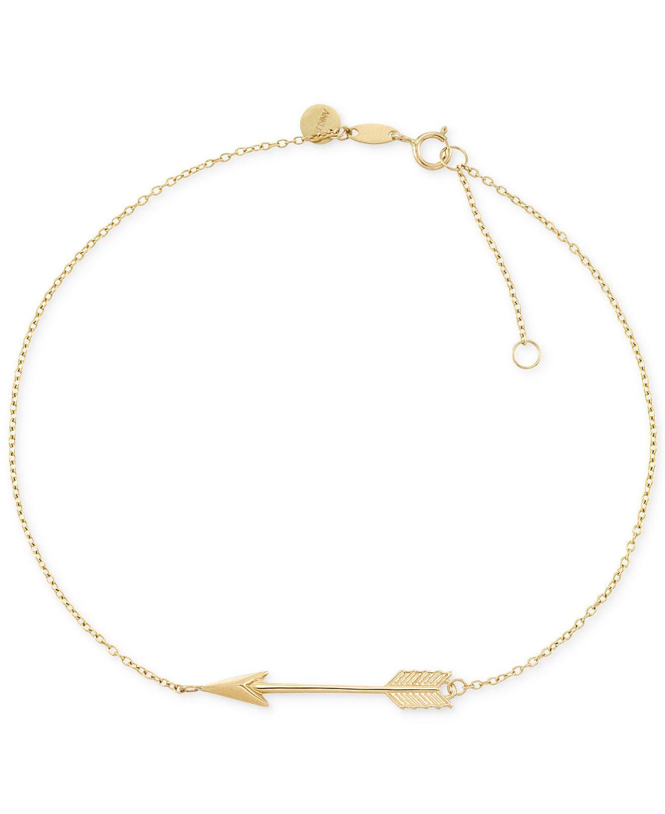 1f84736de1de1e Arrow Anklet in 14k Gold - Bracelets - Jewelry & Watches - Macy's ...