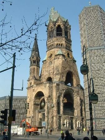 The outside of the Kaiser Wilhelm Gedachtniskirche in Berlin.  Remains still standing, though bombed and damaged - a testament to WWII.