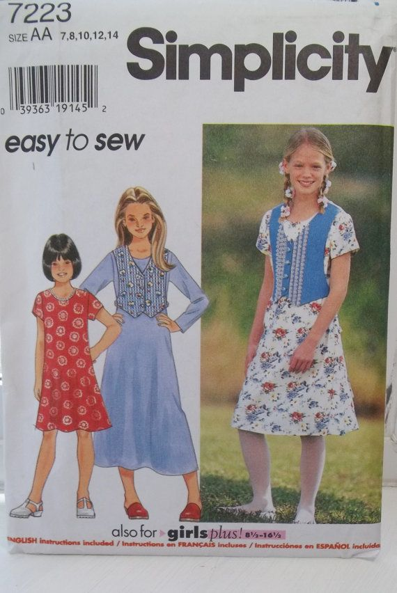 Simplicity 7223 Girl\'s Dress Pattern Easy to Sew by WitsEndDesign ...
