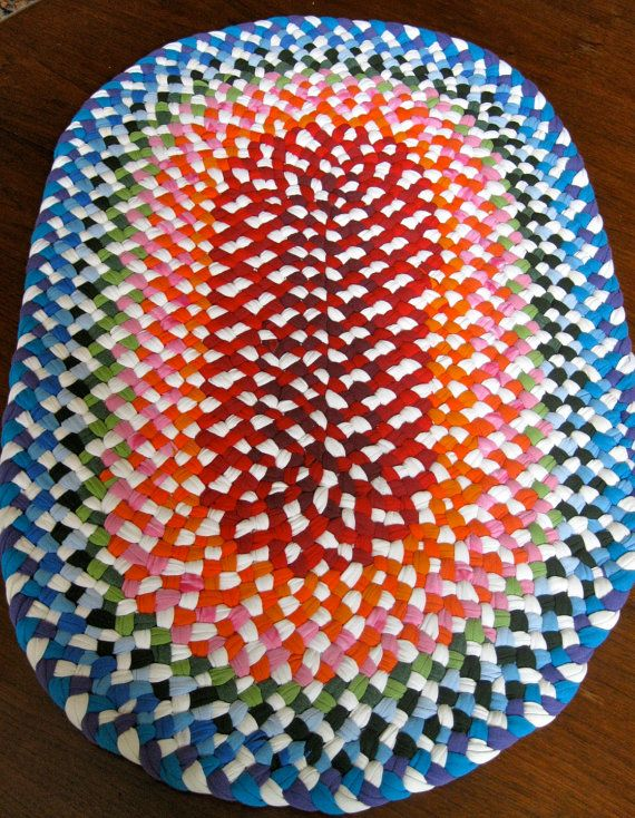 Favoritos Tapete trançado feito com camisas de algodão reciclados camisetas  BW73