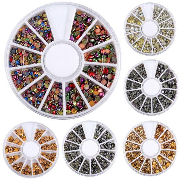 6 tipos de espejos mezclado decoración perlas arte de uñas colorido ...