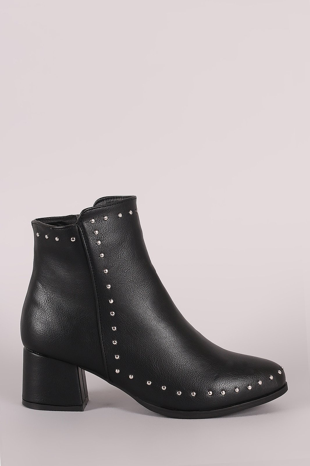 23df930ff573 Qupid Studded Almond Toe Block Heeled Ankle Booties