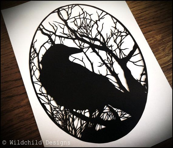 Crow  Haunting Gothic Winter Trees Silhouette Paper Cutting