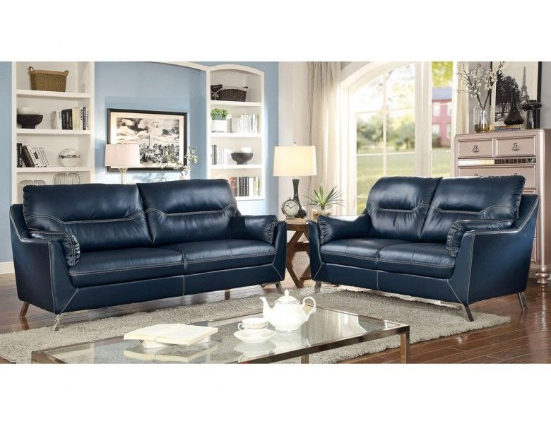 Lina Dark Blue Leather Sofa Blue Leather Sofa Shabby Chic Furniture Blue Leather Couch