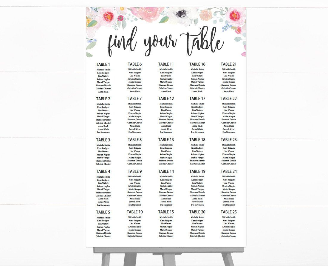 Romantic Floral Seating Chart Template Floral Wedding Seating