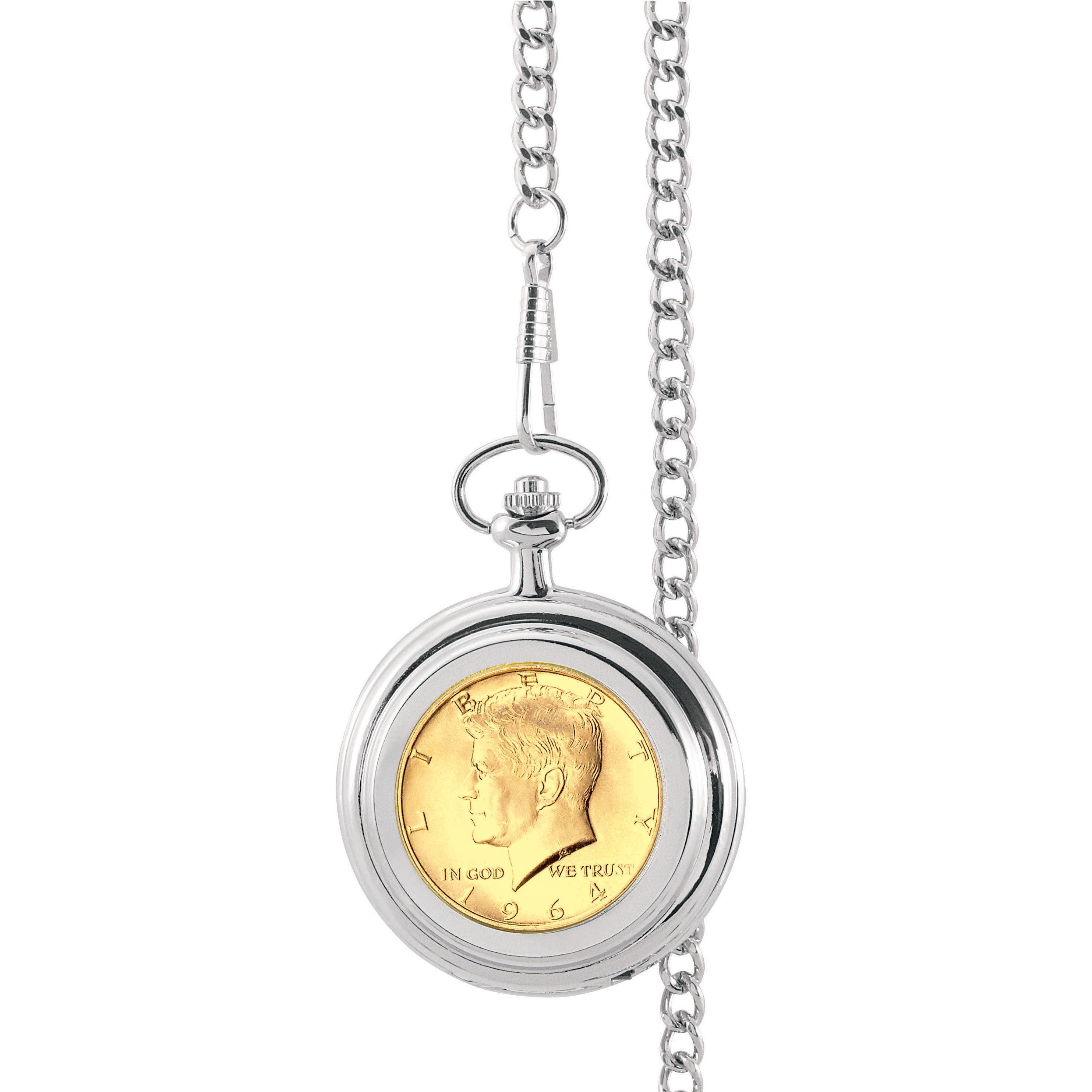 American Coin Treasures Gold-Layered JFK 1964 First Year of Issue Half Dollar Pocket Watch