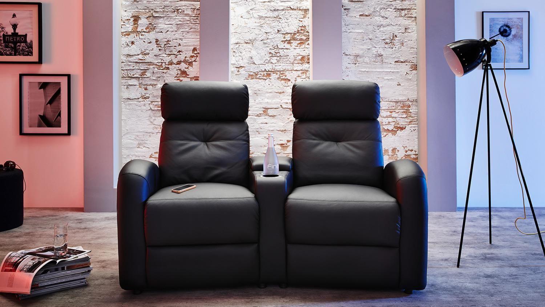 Cinema Sessel 2er Houston In Schwarz Mit Getrankehalter Fernsehsessel Heim Und Heimkino