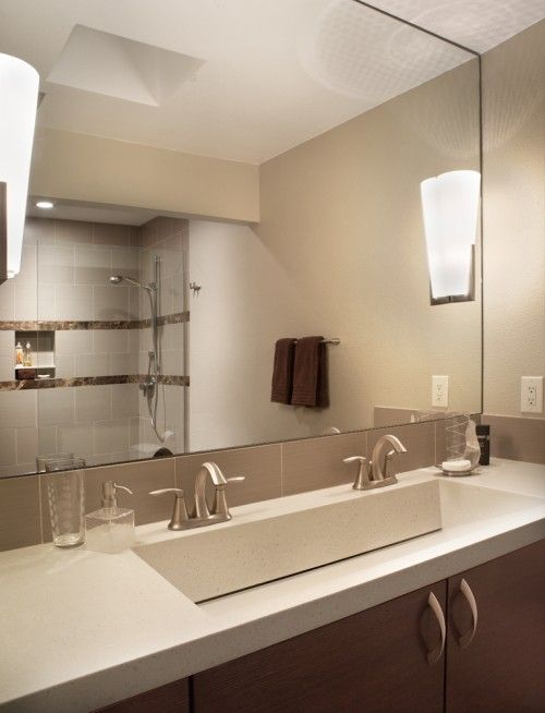 Double Sink Bathroom Vanity, Single Basin Double Faucet Bathroom Sink