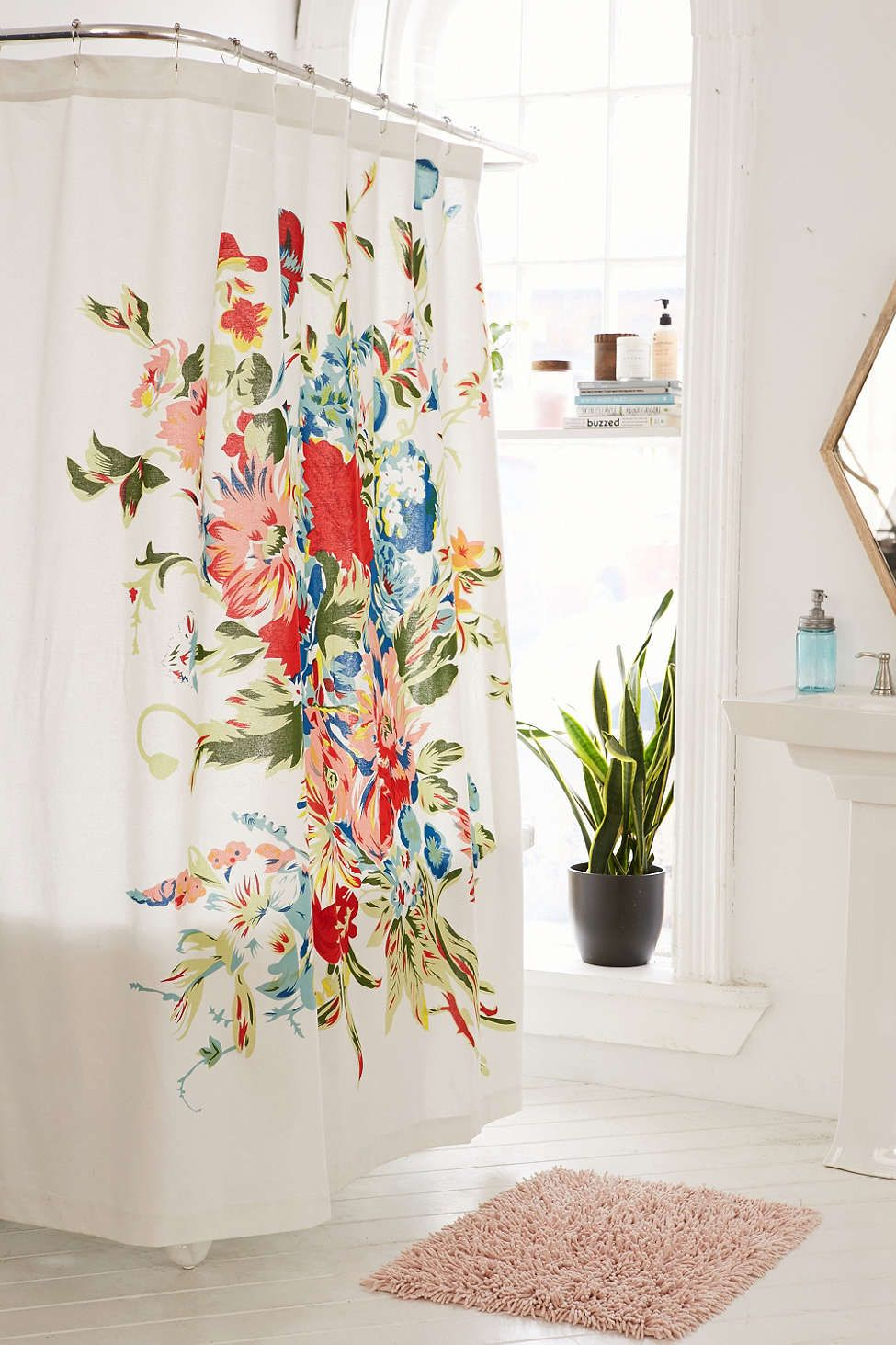 Romantic Floral Scarf Shower Curtain Unique Shower Curtain