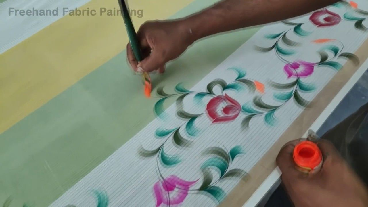 Free Hand Fabric Painting On Saree Free Hand Painting On Saree