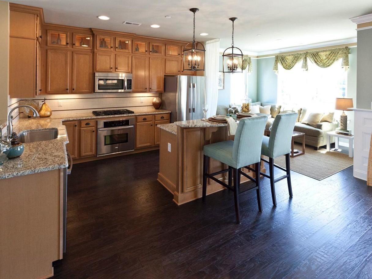 Dark Hardwood Floors with Maple Cabinets Ideas | Wood home ... on Dark Maple Cabinets  id=91897