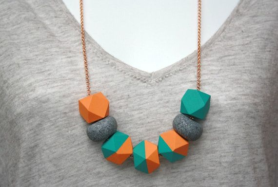 Orange and Turquoise Wooden Geometric  and Glitter Polymer Clay Bead Necklace