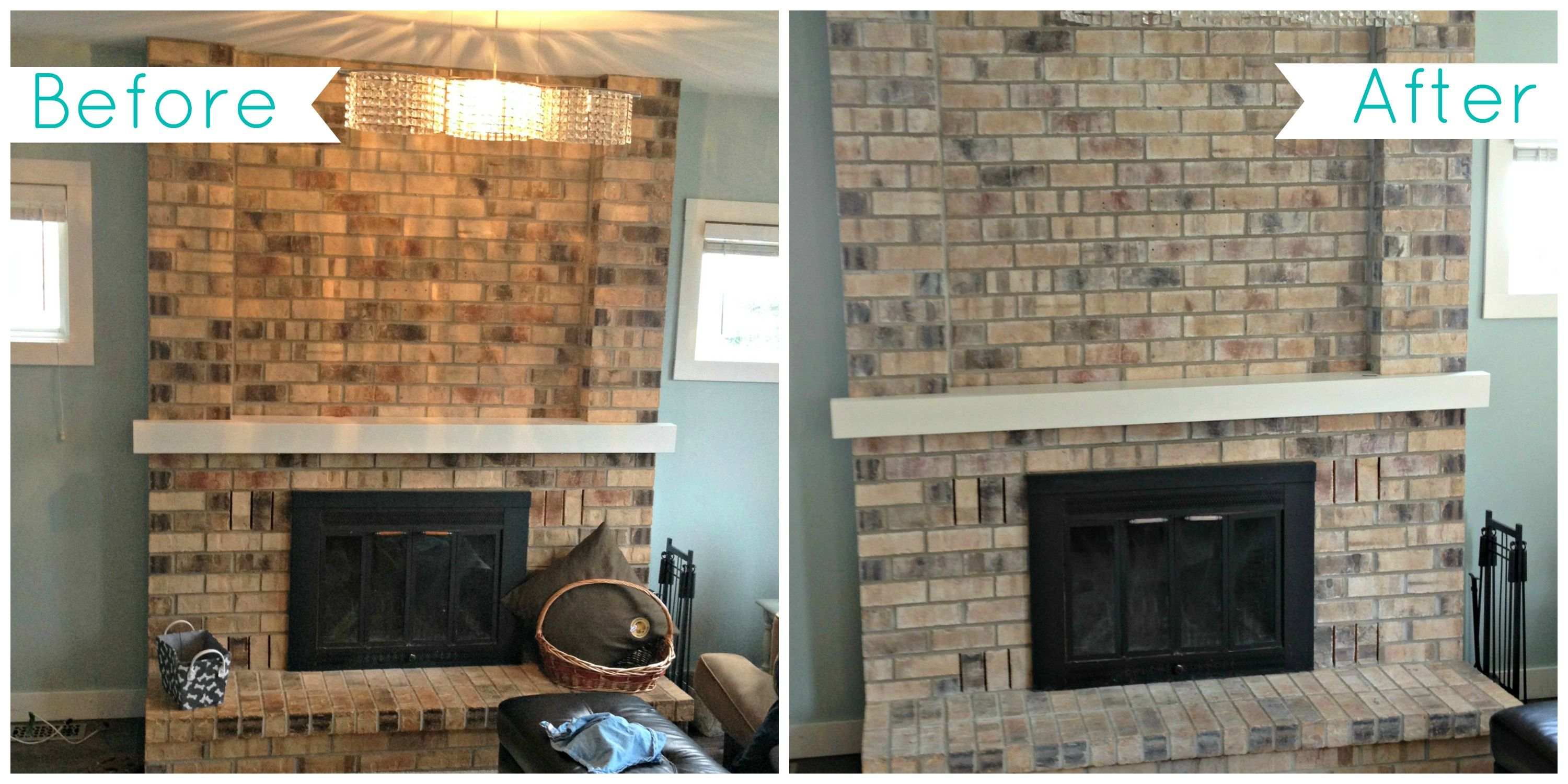 Whitewash Fireplace Before And After Painted Brick Fireplace Before And After Fireplace White Wash