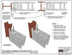 02 120 1102 Column Connection Details Option 2 Masonry Construction Steel Columns Steel Frame Construction