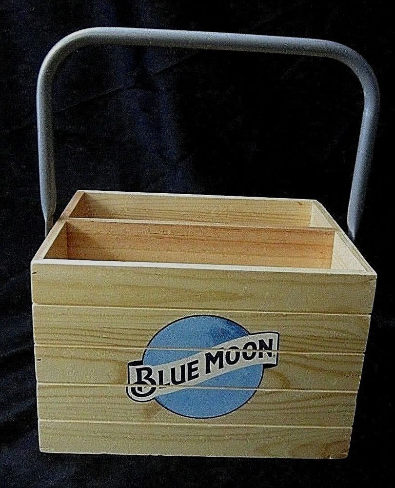 Blue Moon Solid Pine Bottle Condiment Crate Basket Metal Handle Blue Moon Logo