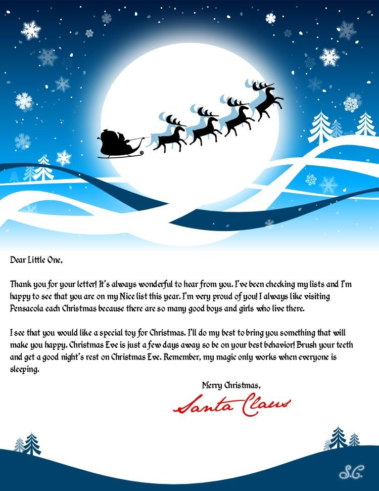 Create a personalized letter from Santa Claus Printable letters