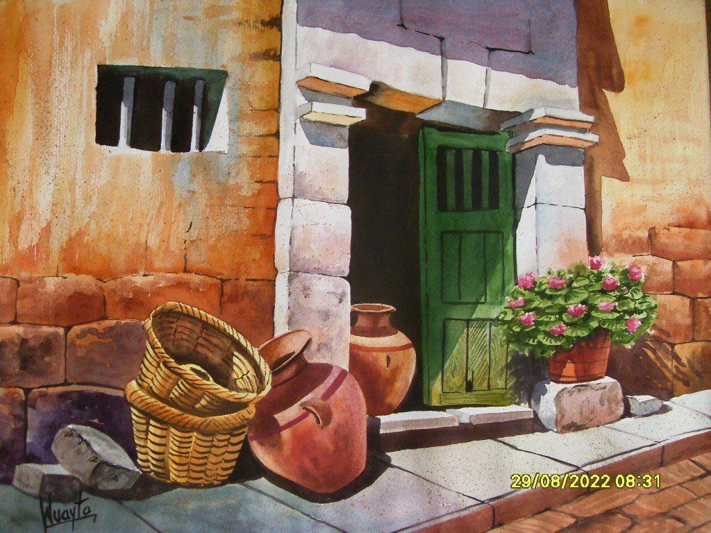 Pin cuadros de paisajes modernos abstractos al oleo for Fachadas de casas pintadas