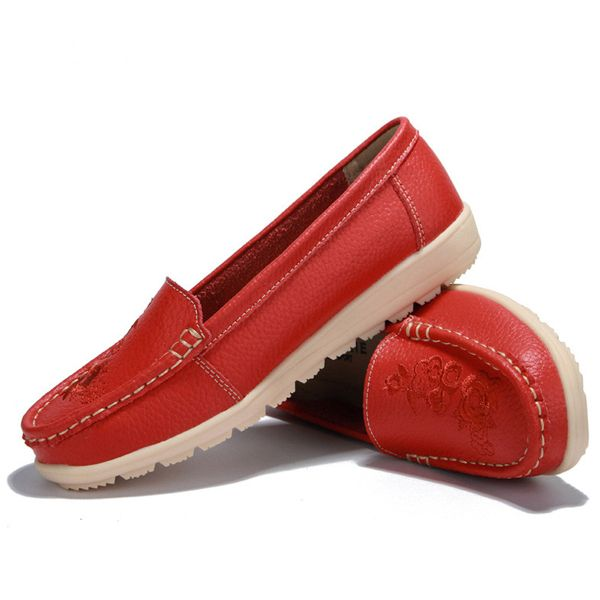 Flats Women Casual Slip On Soft Shoes In Leather Worldwide