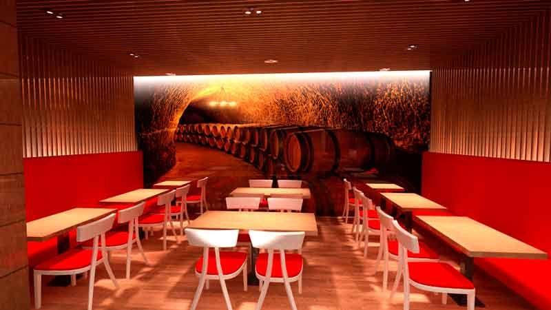 Comedor con paredes y techo revestidocon listones de madera en - decoracion con madera en paredes