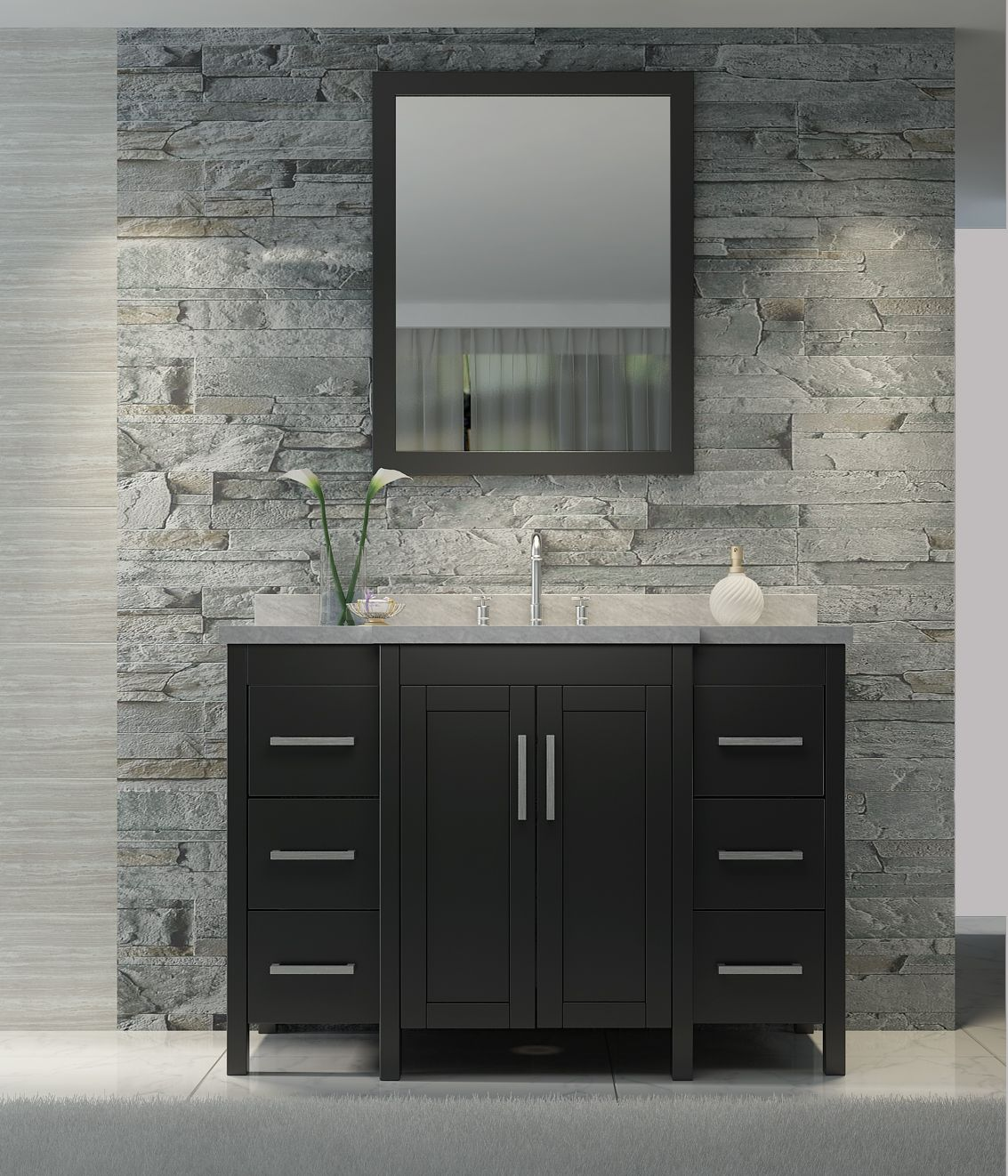 49 Inch Bathroom Vanity Set In Black Finish