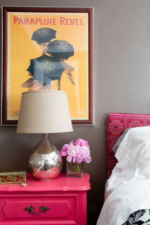 Bedroom In A Bungalow Pink Nightstands With Images Pink
