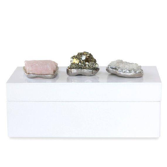 By Dani Barbe Raw Stone Geode Box Rose Quartz Box Raw Crystal Box Mineral Box Coffee Table Box Quartz Raw Gemstone Jewelry Rose Quartz Crystal Box