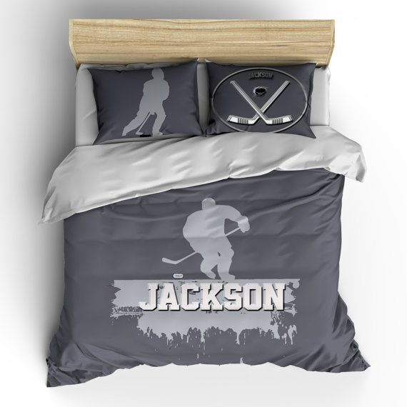 Custom Personalized Hockey Player Comforters Queen Size