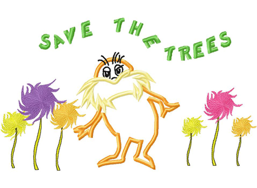Lorax Save The Trees Applique Embroidery Design Applique Embroidery Designs Embroidery Applique Embroidery Designs